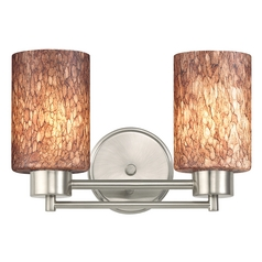 Modern Bathroom Light with Brown Art Glass in Satin Nickel Finish