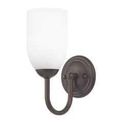Sconce with White Glass in Bronze Finish