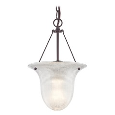 Industrial Foyer Pendant Light with Prismatic Glass in Bronze Finish