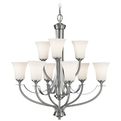 Modern Chandelier with White Glass in Brushed Steel Finish