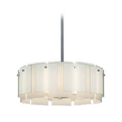 Drum Pendant Light with White Glass in Polished Chrome Finish