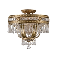 Crystal Semi-Flushmount Light in Aged Brass Finish