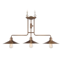 Designers Fountain Newbury Station Old Satin Brass Island Light with Coolie Shade