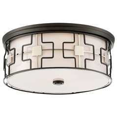 Minka Lavery Dark Gray with Polished Nickel Flushmount Light