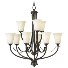 Chandelier with White Glass in Oil Rubbed Bronze Finish
