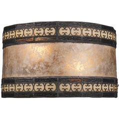 Sconce Wall Light with Beige / Cream Mica Shade in Tiffany Bronze