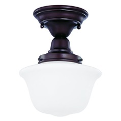 8-Inch Semi-Flushmount Ceiling Light with Schoolhouse Glass in Bronze