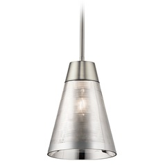 Kichler Lighting Rowland Brushed Nickel Mini-Pendant Light with Conical Shade