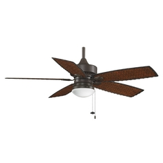 Ceiling Fan with Light with White Glass in Oil-Rubbed Bronze Finish