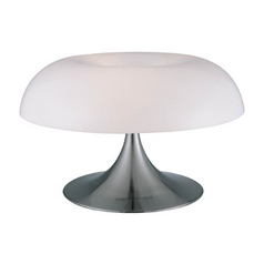 Modern Table Lamp with White in Polished Steel Finish