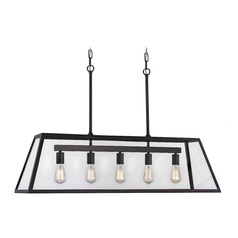 Industrial Linear Pendant Light with Tapered Rectangle Glass 5-Light