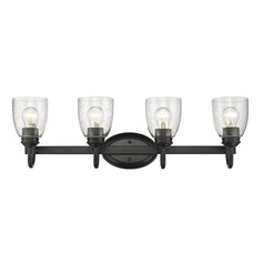 Seeded Glass Bathroom Light Black Golden Lighting