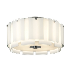 Semi-Flushmount Light with White Glass in Polished Chrome Finish