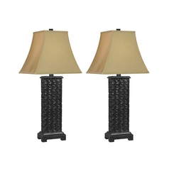 Table Lamp Set with Gold Shade in Mottled Bronze Finish