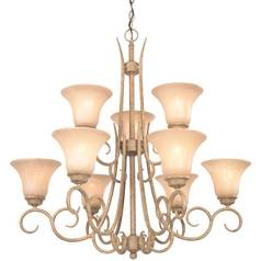 Dolan Designs Lighting Chandelier with Amber Glass in Terracotta Finish 1922-55