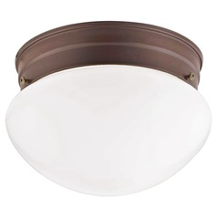 7.5-Inch Bronze Flushmount Ceiling Light With Opal Glass