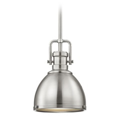 Industrial Metal Pendant Light Satin Nickel 7.38-Inch Wide