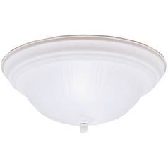 Kichler Flushmount Light with White Glass in Stucco White Finish