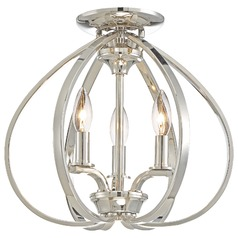 Minka Tilbury Polished Nickel Semi-Flushmount Light