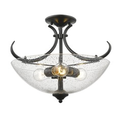 Golden Lighting Parrish Black Semi-Flushmount Light