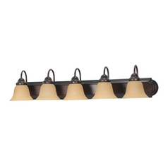 Bathroom Light with Beige / Cream Glass in Mahogany Bronze Finish