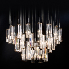 Crystal Chandelier with Clear Glass in Polished Chrome Finish