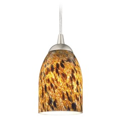 Design Classics Lighting Modern Mini-Pendant Light with Brown Art Glass 582-09 GL1005D