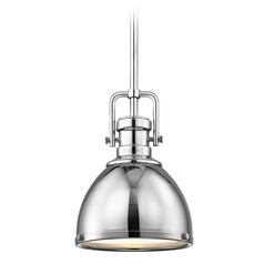 Industrial Mini-Pendant with Chrome Shade 7.38-Inch Wide