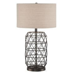 Lite Source Cassiopeia Black Table Lamp with Drum Shade
