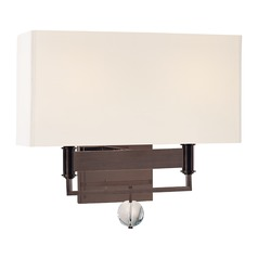 Modern Sconce Wall Light with White Shades in Old Bronze Finish