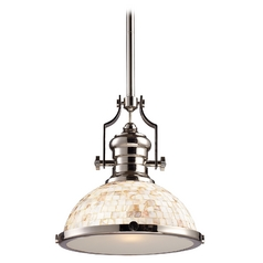 Pendant Light with Beige / Cream Glass in Polished Nickel Finish