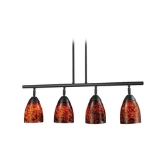 Island Light with Art Glass in Dark Rust Finish