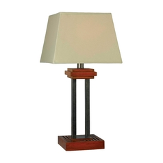 Table Lamp with Beige / Cream Shade in Cherry Finish