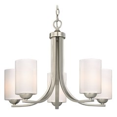 Contemporary Chandelier with Opal White Cylinder Glass Shades