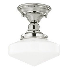 8-Inch Schoolhouse Ceiling Light in Polished Nickel