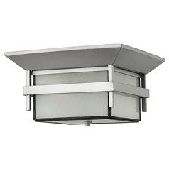 Close To Ceiling Light with White Glass in Titanium Finish