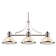 Island Light with Beige / Cream Glass in Polished Nickel Finish