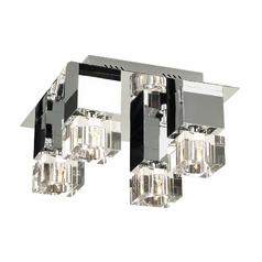 Modern Flushmount Light with Clear Glass in Polished Chrome Finish