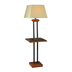 Floor Lamp with Beige / Cream Shade in Cherrywood and Grey Finish