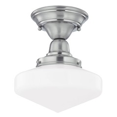 Design Classics Lighting 8-Inch Schoolhouse Ceiling Light in Satin Nickel Finish FBS-09 / GE8