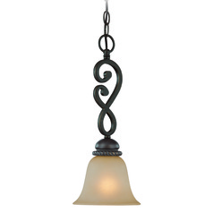 Craftmade Highland Place Mocha Bronze Mini-Pendant Light with Bell Shade