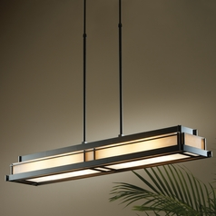 Hubbardton Forge Lighting Steppe Dark Smoke Island Light with Rectangle Shade