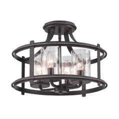 Seeded Glass Semi-Flushmount Light Black Designers Fountain Lighting