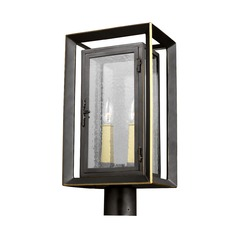 Seeded Glass Post Light Bronze / Brass Feiss Lighting