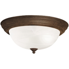 Kichler Flushmount Light with Brown Glass in Tannery Bronze Finish