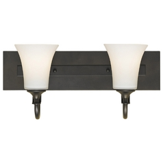 Modern Bathroom Light with White Glass in Oil Rubbed Bronze Finish