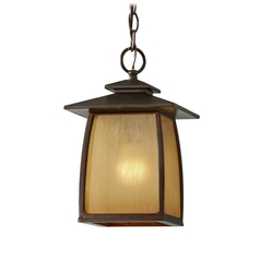 Outdoor Hanging Light with Beige / Cream Glass in Sorrel Brown Finish