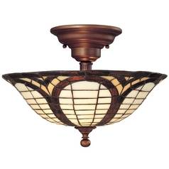 Design Classics Lighting Tiffany Ceiling Light in Bronze Finish 5977-20