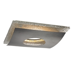 Hammered Chrome Decorative Square Ceiling Trim for Recessed Lights