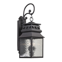Outdoor Wall Light with Clear Glass in Charcoal Finish